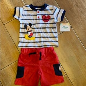 Disney 3-6 months Mickey shirt and short outfit.